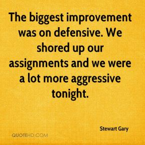 Stewart Gary  - The biggest improvement was on defensive. We shored up our assignments and we were a lot more aggressive tonight.