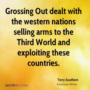 Grossing Out dealt with the western nations selling arms to the Third World and exploiting these countries.
