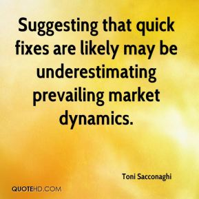 Toni Sacconaghi  - Suggesting that quick fixes are likely may be underestimating prevailing market dynamics.