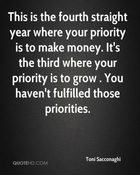Toni Sacconaghi  - This is the fourth straight year where your priority is to make money. It's the third where your priority is to grow . You haven't fulfilled those priorities.