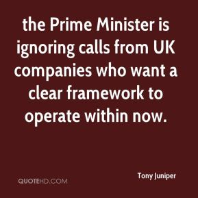 Tony Juniper  - the Prime Minister is ignoring calls from UK companies who want a clear framework to operate within now.