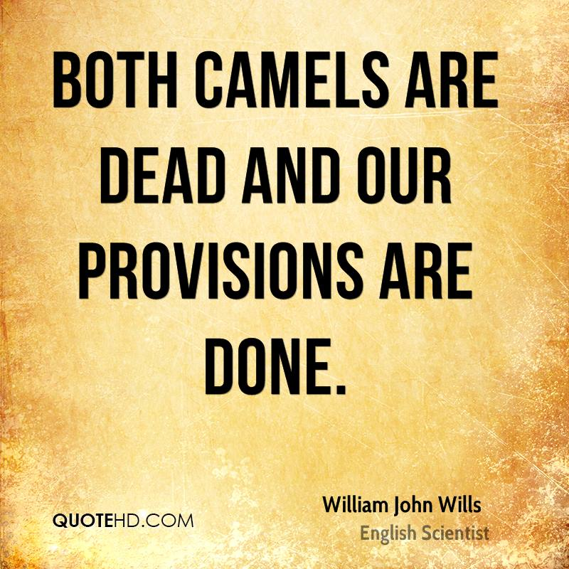 Both camels are dead and our provisions are done.