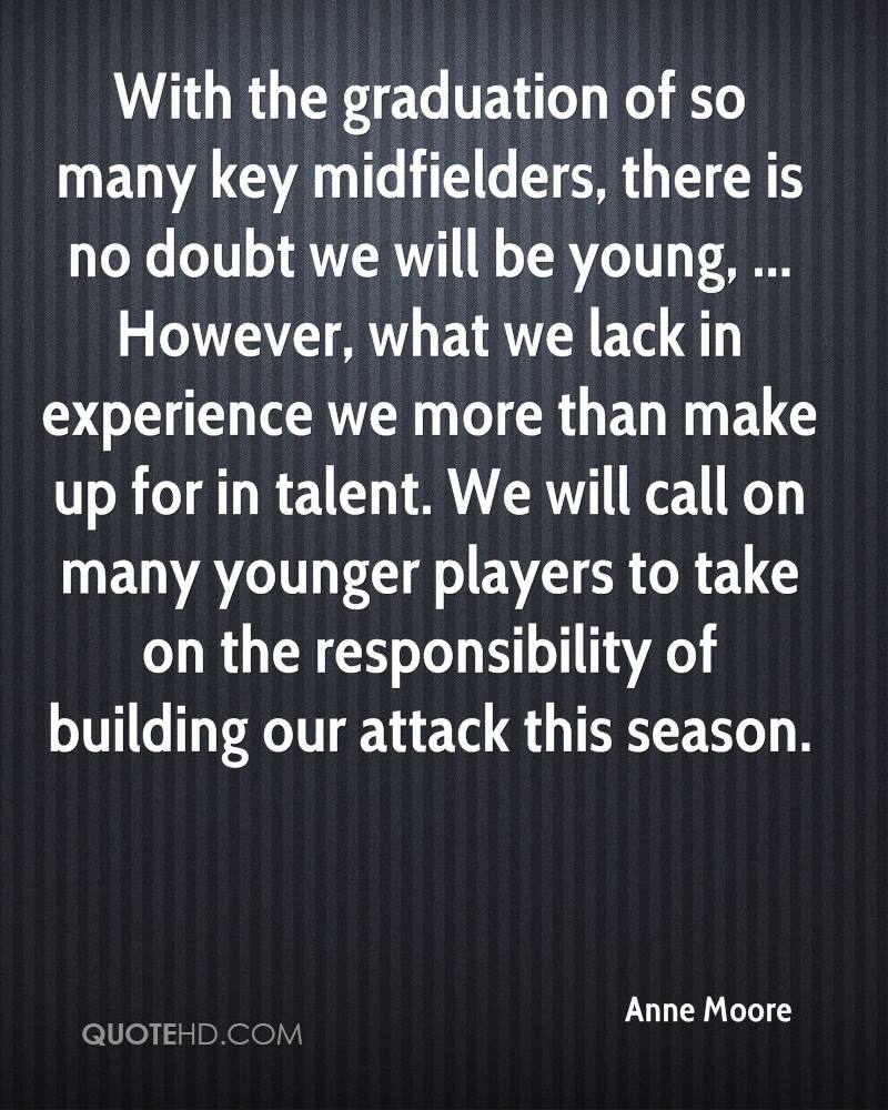 With the graduation of so many key midfielders, there is no doubt we will be young, ... However, what we lack in experience we more than make up for in talent. We will call on many younger players to take on the responsibility of building our attack this season.