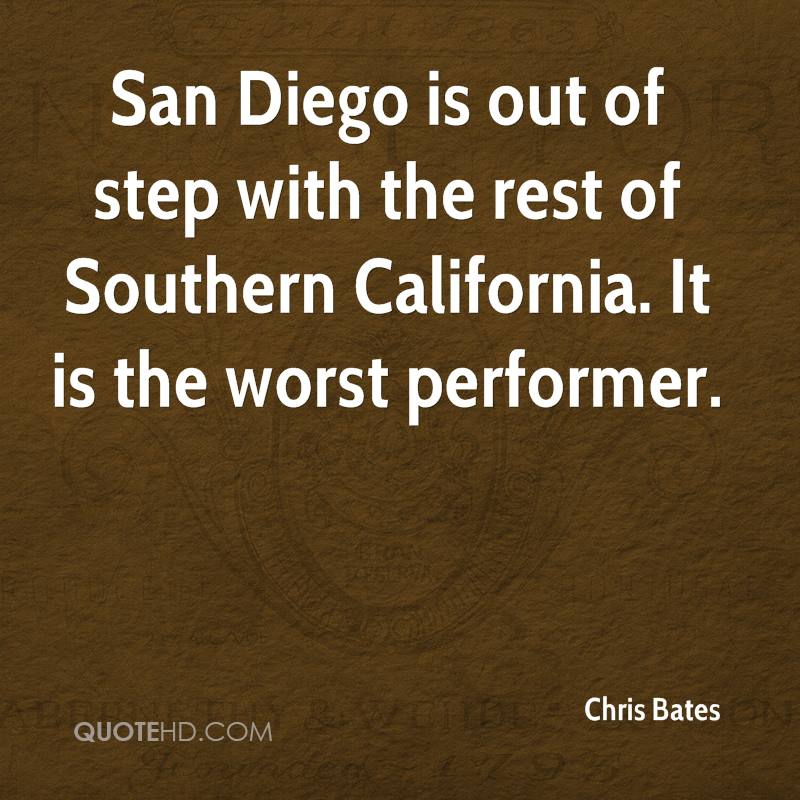 San Diego is out of step with the rest of Southern California. It is the worst performer.