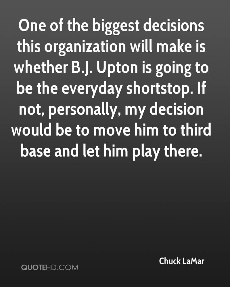 One of the biggest decisions this organization will make is whether B.J. Upton is going to be the everyday shortstop. If not, personally, my decision would be to move him to third base and let him play there.