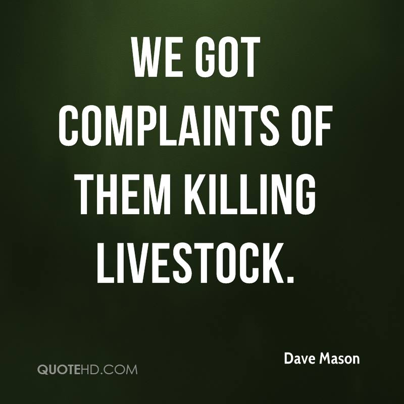 We got complaints of them killing livestock.