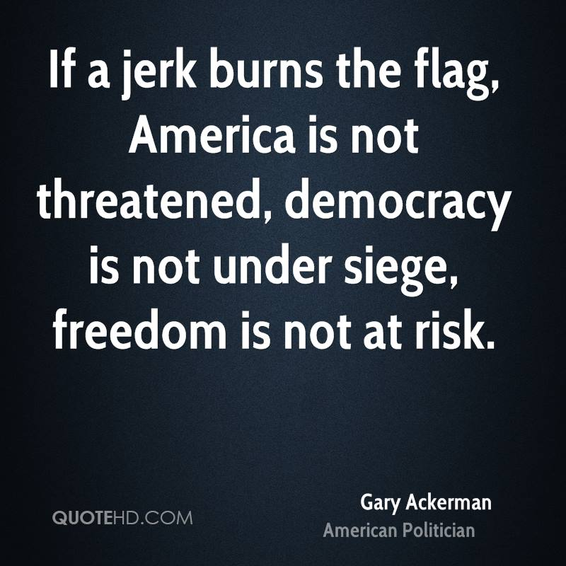If a jerk burns the flag, America is not threatened, democracy is not under siege, freedom is not at risk.