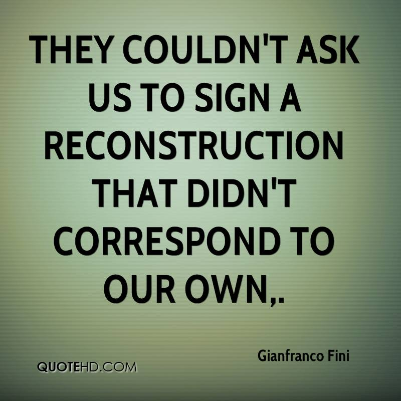 They couldn't ask us to sign a reconstruction that didn't correspond to our own.