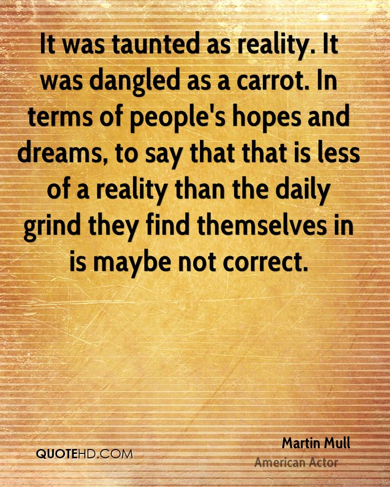 It was taunted as reality. It was dangled as a carrot. In terms of people's hopes and dreams, to say that that is less of a reality than the daily grind they find themselves in is maybe not correct.