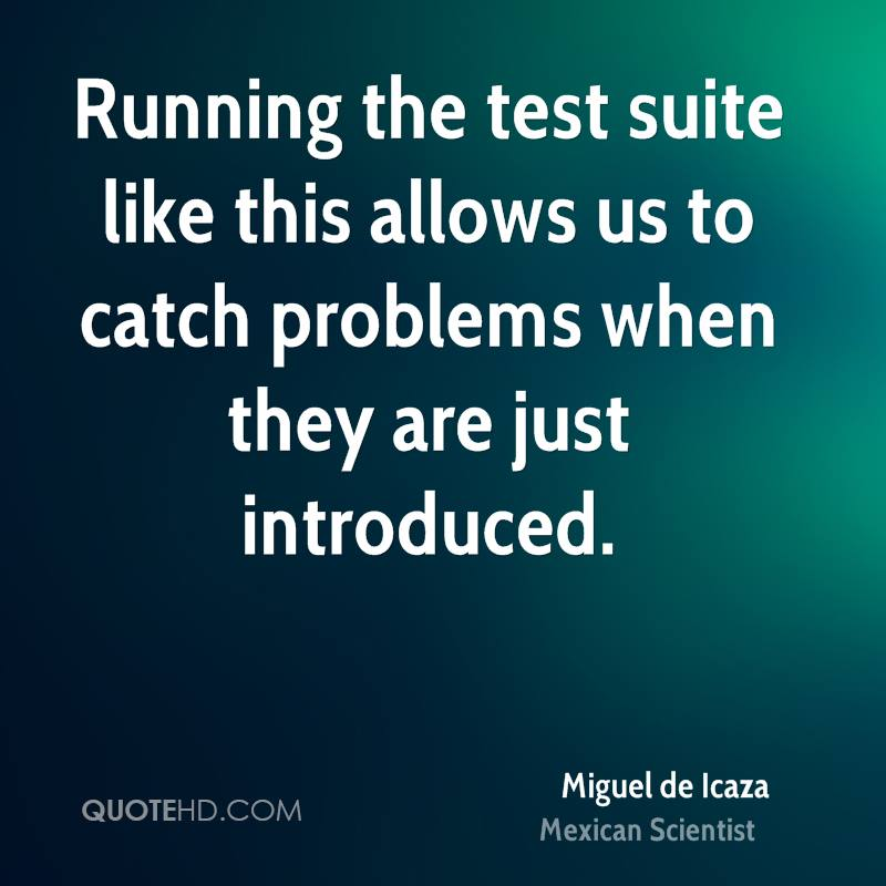 Running the test suite like this allows us to catch problems when they are just introduced.