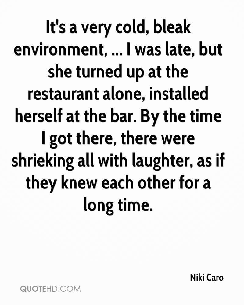 It's a very cold, bleak environment, ... I was late, but she turned up at the restaurant alone, installed herself at the bar. By the time I got there, there were shrieking all with laughter, as if they knew each other for a long time.