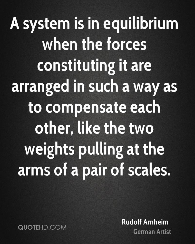 A system is in equilibrium when the forces constituting it are arranged in such a way as to compensate each other, like the two weights pulling at the arms of a pair of scales.