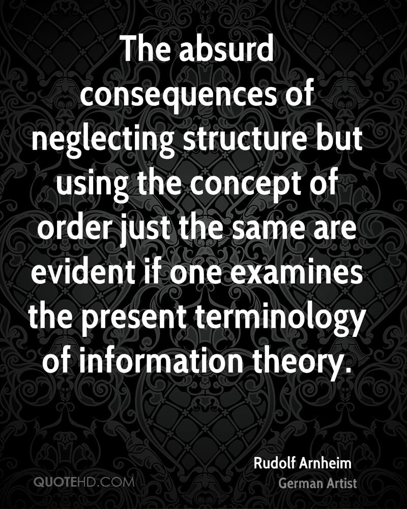 The absurd consequences of neglecting structure but using the concept of order just the same are evident if one examines the present terminology of information theory.