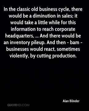 Alan Blinder - In the classic old business cycle, there would be a diminution in sales; it would take a little while for this information to reach corporate headquarters, ... And there would be an inventory pileup. And then - bam - businesses would react, sometimes violently, by cutting production.