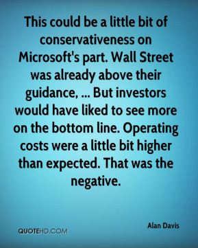 Alan Davis - This could be a little bit of conservativeness on Microsoft's part. Wall Street was already above their guidance, ... But investors would have liked to see more on the bottom line. Operating costs were a little bit higher than expected. That was the negative.