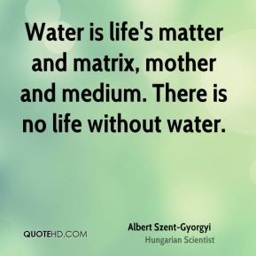 Water is life's matter and matrix, mother and medium. There is no life without water.