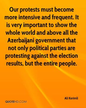 Ali Kerimli - Our protests must become more intensive and frequent. It is very important to show the whole world and above all the Azerbaijani government that not only political parties are protesting against the election results, but the entire people.