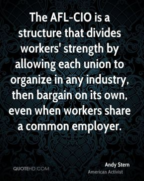 Andy Stern - The AFL-CIO is a structure that divides workers' strength by allowing each union to organize in any industry, then bargain on its own, even when workers share a common employer.