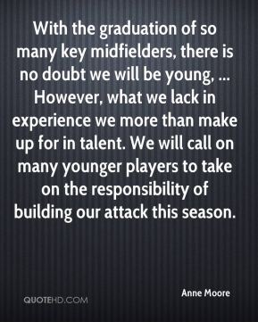 Anne Moore - With the graduation of so many key midfielders, there is no doubt we will be young, ... However, what we lack in experience we more than make up for in talent. We will call on many younger players to take on the responsibility of building our attack this season.
