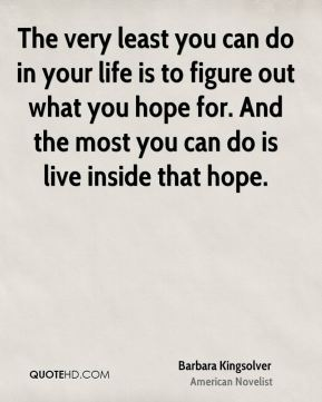 The very least you can do in your life is to figure out what you hope for. And the most you can do is live inside that hope.