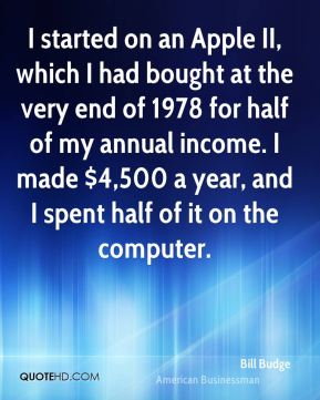 Bill Budge - I started on an Apple II, which I had bought at the very end of 1978 for half of my annual income. I made $4,500 a year, and I spent half of it on the computer.