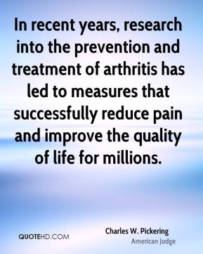 In recent years, research into the prevention and treatment of arthritis has led to measures that successfully reduce pain and improve the quality of life for millions.