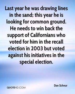 Last year he was drawing lines in the sand; this year he is looking for common ground. He needs to win back the support of Californians who voted for him in the recall election in 2003 but voted against his initiatives in the special election.