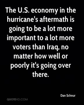 The U.S. economy in the hurricane's aftermath is going to be a lot more important to a lot more voters than Iraq, no matter how well or poorly it's going over there.