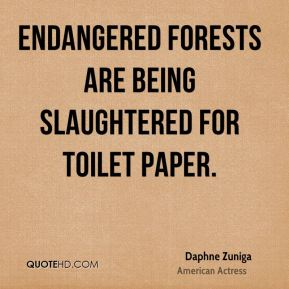Endangered forests are being slaughtered for toilet paper.