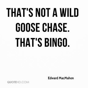 That's not a wild goose chase. That's bingo.
