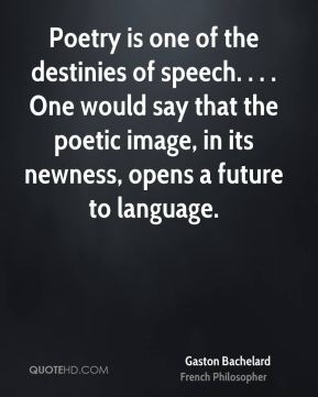Gaston Bachelard - Poetry is one of the destinies of speech. . . . One would say that the poetic image, in its newness, opens a future to language.