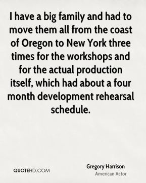 I have a big family and had to move them all from the coast of Oregon to New York three times for the workshops and for the actual production itself, which had about a four month development rehearsal schedule.