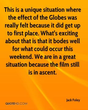 Jack Foley - This is a unique situation where the effect of the Globes was really felt because it did get up to first place. What's exciting about that is that it bodes well for what could occur this weekend. We are in a great situation because the film still is in ascent.