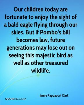 Our children today are fortunate to enjoy the sight of a bald eagle flying through our skies. But if Pombo's bill becomes law, future generations may lose out on seeing this majestic bird as well as other treasured wildlife.