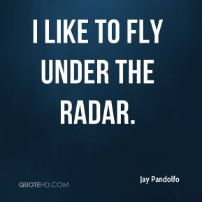 I like to fly under the radar.