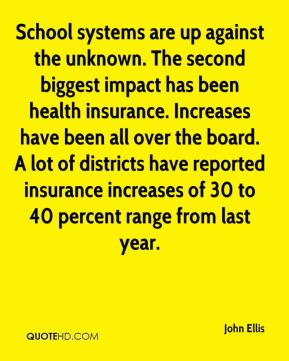 School systems are up against the unknown. The second biggest impact has been health insurance. Increases have been all over the board. A lot of districts have reported insurance increases of 30 to 40 percent range from last year.