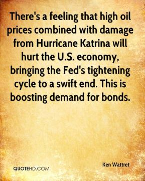 Ken Wattret  - There's a feeling that high oil prices combined with damage from Hurricane Katrina will hurt the U.S. economy, bringing the Fed's tightening cycle to a swift end. This is boosting demand for bonds.