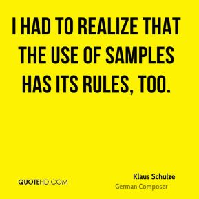 Klaus Schulze - I had to realize that the use of samples has its rules, too.