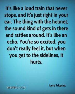 Larry Tripplett  - It's like a loud train that never stops, and it's just right in your ear. The thing with the helmet, the sound kind of gets in there and rattles around. It's like an echo. You're so excited, you don't really feel it, but when you get to the sidelines, it hurts.