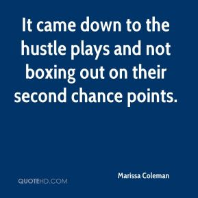 Marissa Coleman  - It came down to the hustle plays and not boxing out on their second chance points.
