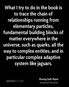 Murray Gell-Mann - What I try to do in the book is to trace the chain of relationships running from elementary particles, fundamental building blocks of matter everywhere in the universe, such as quarks, all the way to complex entities, and in particular complex adaptive system like jaguars.