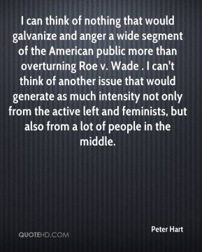 Peter Hart  - I can think of nothing that would galvanize and anger a wide segment of the American public more than overturning Roe v. Wade . I can't think of another issue that would generate as much intensity not only from the active left and feminists, but also from a lot of people in the middle.