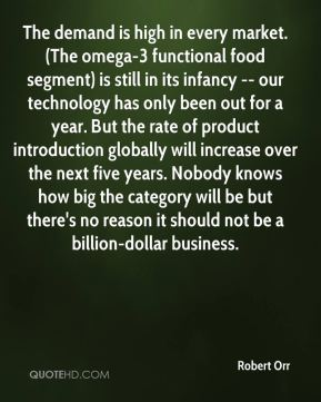 The demand is high in every market. (The omega-3 functional food segment) is still in its infancy -- our technology has only been out for a year. But the rate of product introduction globally will increase over the next five years. Nobody knows how big the category will be but there's no reason it should not be a billion-dollar business.