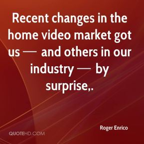 Recent changes in the home video market got us — and others in our industry — by surprise.