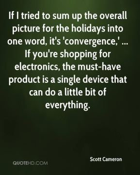Scott Cameron  - If I tried to sum up the overall picture for the holidays into one word, it's 'convergence,' ... If you're shopping for electronics, the must-have product is a single device that can do a little bit of everything.