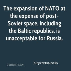 Sergei Yastrzhembsky  - The expansion of NATO at the expense of post-Soviet space, including the Baltic republics, is unacceptable for Russia.