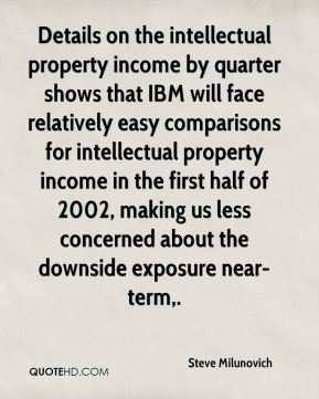 Steve Milunovich  - Details on the intellectual property income by quarter shows that IBM will face relatively easy comparisons for intellectual property income in the first half of 2002, making us less concerned about the downside exposure near-term.
