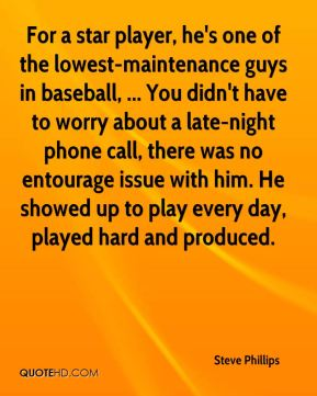 For a star player, he's one of the lowest-maintenance guys in baseball, ... You didn't have to worry about a late-night phone call, there was no entourage issue with him. He showed up to play every day, played hard and produced.