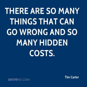There are so many things that can go wrong and so many hidden costs.