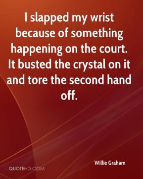 Willie Graham  - I slapped my wrist because of something happening on the court. It busted the crystal on it and tore the second hand off.